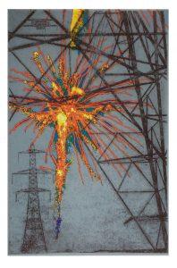 pylon 5 orange firework on IJ - 0234 mitsumata w 2 layered inkjet Awagami