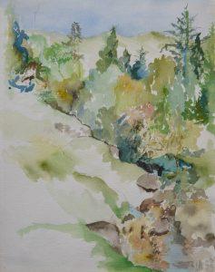 Scottish Stream, watercolour 52x42cm