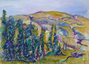 hills and trees, chroma artist colour 1993 40x48cm